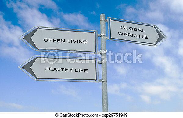 levend, leven, gezonde , meldingsbord, groene, straat - csp29751949