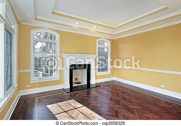 Levend, muren, kamer, gele. Woonkamer, gele muren, bouwsector, thuis ...
