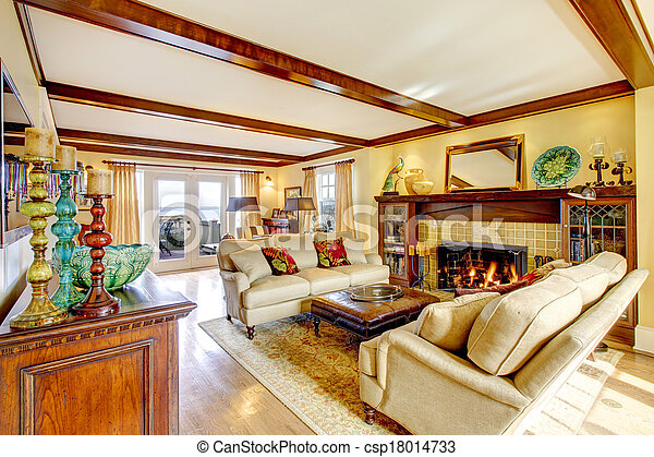Levend plafond kamer balken openhaard indrukwekkend levend
