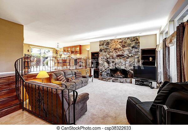 Steen In Interieur : Levend steen kamer open luxe interieur openhaard levend
