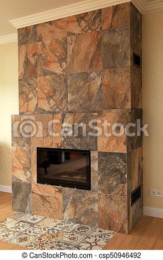 Wonderbaar Levend, steen, openhaard, kamer, tijdgenoot. Levend, steen HK-98