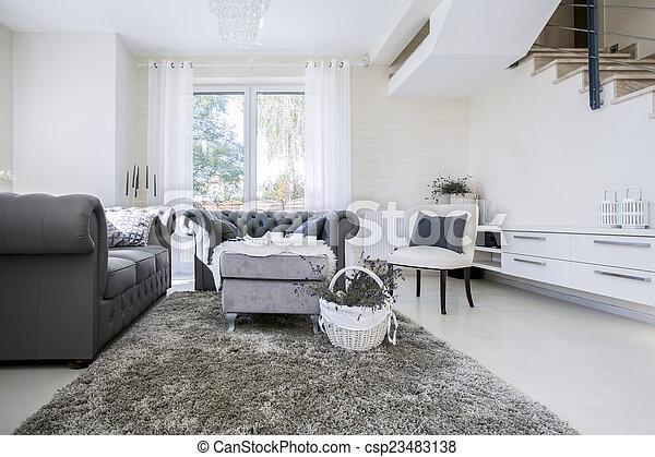 Levend, witte , banken, kamer, grijze . Woonkamer, groot, grijze ...