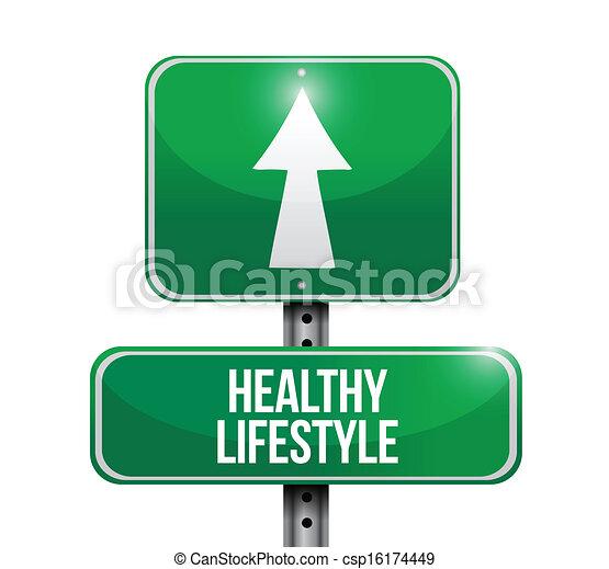 levensstijl, gezonde , illustratie, meldingsbord, ontwerp, straat - csp16174449