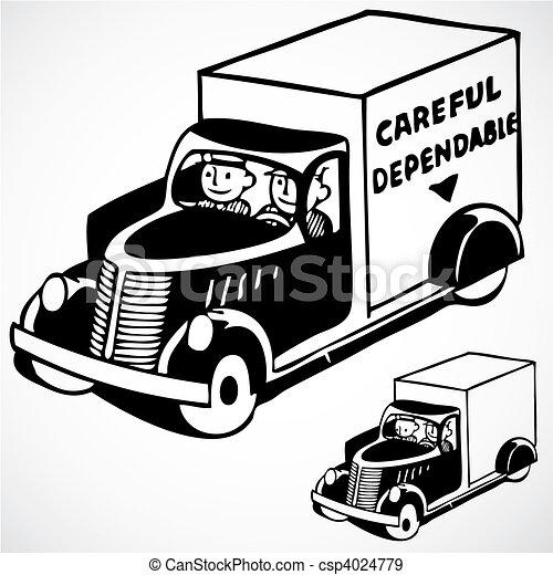 leverans, årgång, vektor, lastbil - csp4024779
