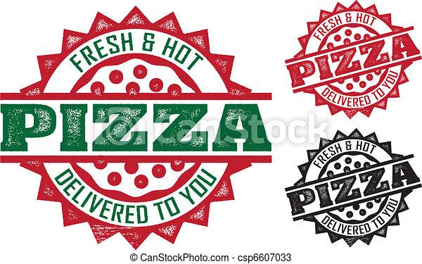 leverans, stämpel, pizza - csp6607033