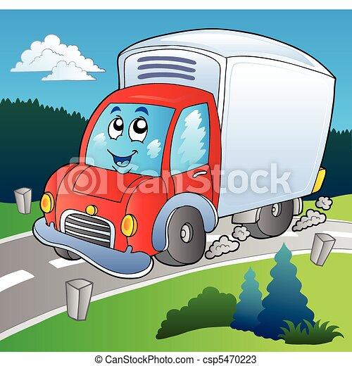 leverans transportera, tecknad film, väg - csp5470223