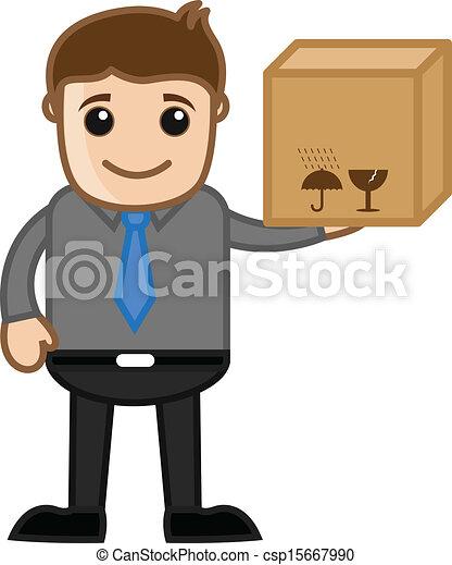 levering doos, vasthouden, man - csp15667990