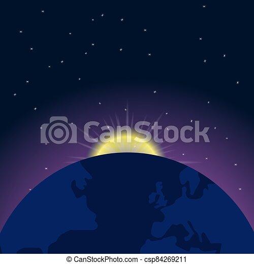 levers de soleil, la terre, espace - csp84269211
