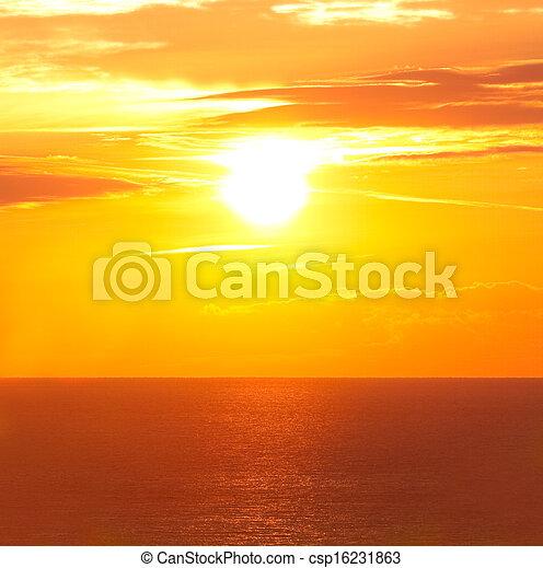 levers de soleil, mer - csp16231863