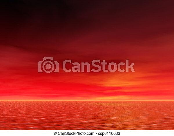 levers de soleil, océan - csp0118633