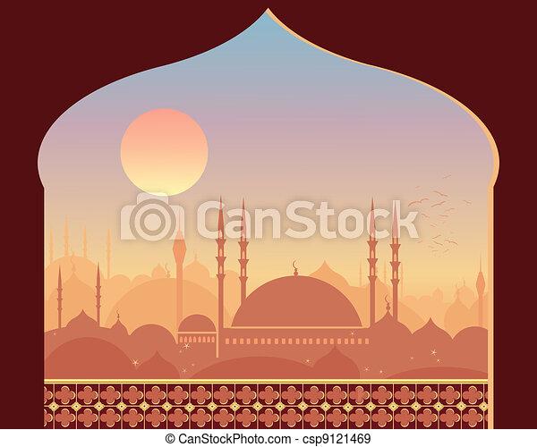 Levers de soleil, oriental. Beau, ville, oriental, mosquée ...