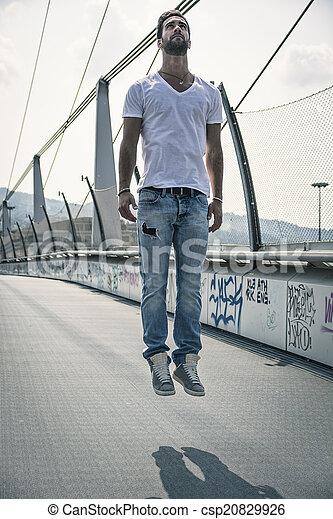 """levitating"", aire, joven, aire libre, hombre, guapo - csp20829926"