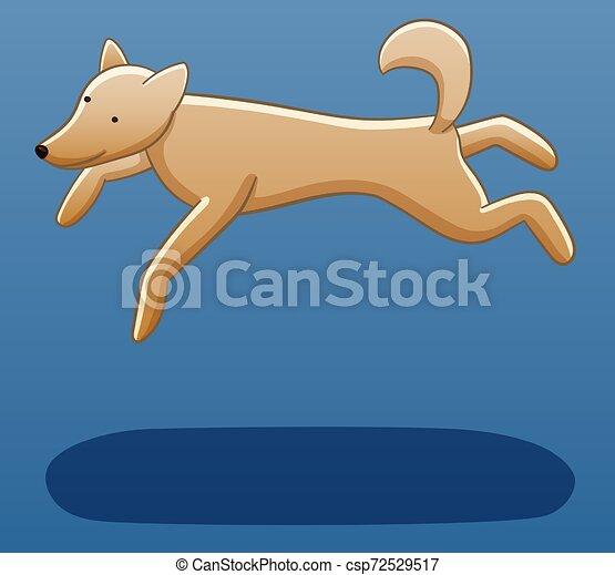 Levitating dog on a blue background - csp72529517