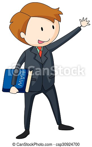 Ley, proceso de llevar, libro, abogado, traje. Proceso de llevar ...