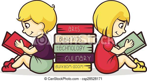 lezende , boekjes , kinderen - csp28528171