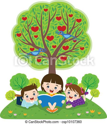lezende , boekjes , kinderen - csp10107360