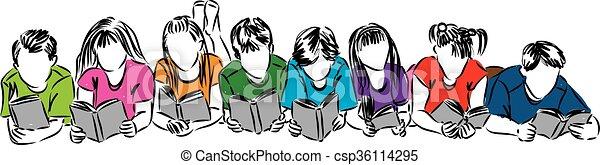 lezende , boekjes , kinderen, illustratie - csp36114295