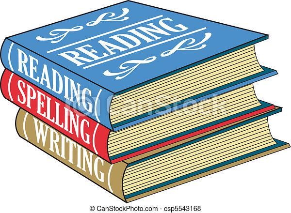 lezende , boekjes , spelling, schrijvende  - csp5543168