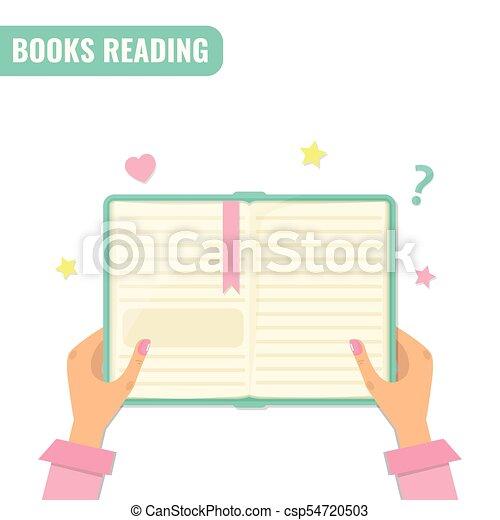 lezende , concept., boekjes , literatuur - csp54720503