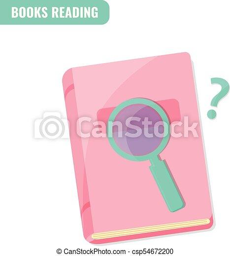 lezende , concept., boekjes , onderzoek - csp54672200