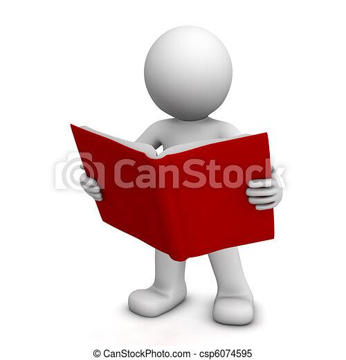 lezende , karakter, boek, 3d - csp6074595