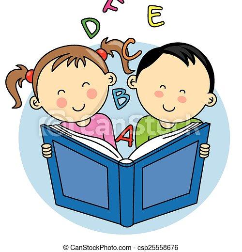 lezende , kinderen, boek - csp25558676