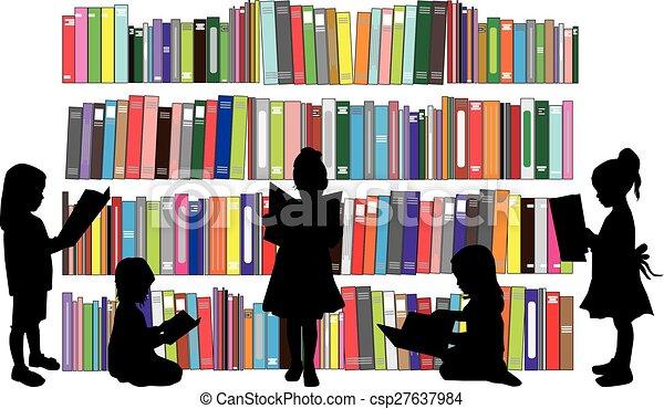 lezende , meiden, book. - csp27637984