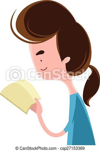 lezende , meisje, boek - csp27153369