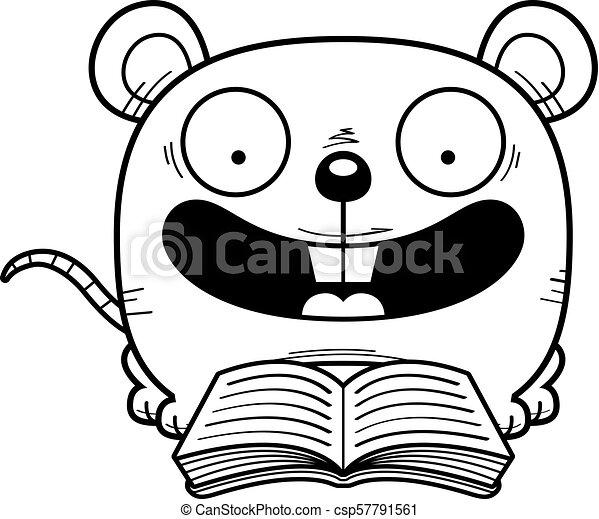 lezende , muis, spotprent - csp57791561