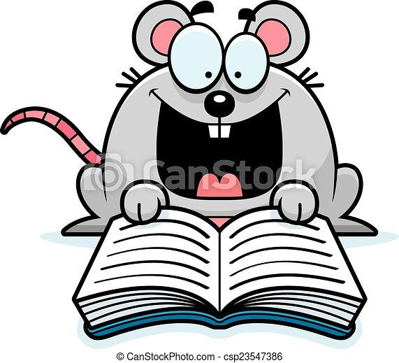 lezende , muis, spotprent - csp23547386