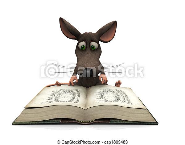 lezende , muis, spotprent - csp1803483