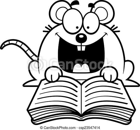 lezende , muis, spotprent - csp23547414