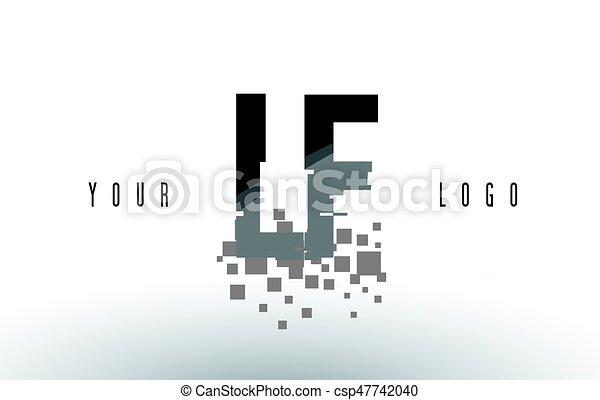 lf, frantumato, f, l, nero, lettera, digitale, logotipo, squadre, pixel - csp47742040