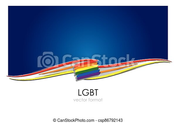 LGBT Flag with colored hand drawn lines in Vector Format. A six-band rainbow flag representing LGBT people. - csp86792143
