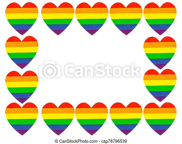 lgbt hearts isolated on white background with copy space for text - csp78796539