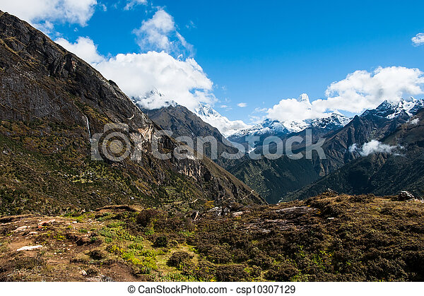 Lhotse and Ama Dablam peaks: Himalaya landscape - csp10307129