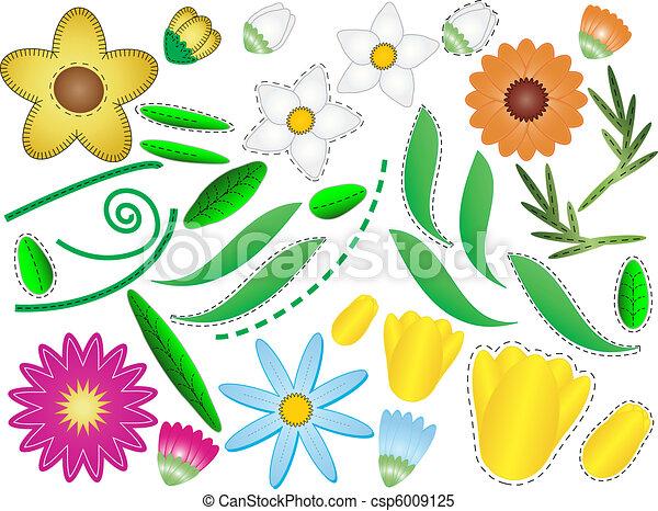 liście, wektor, eps, kwiaty, &, 8 - csp6009125