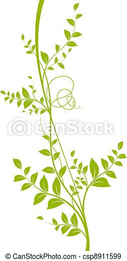 liana, weißes, vektor, grüner hintergrund - csp8911599