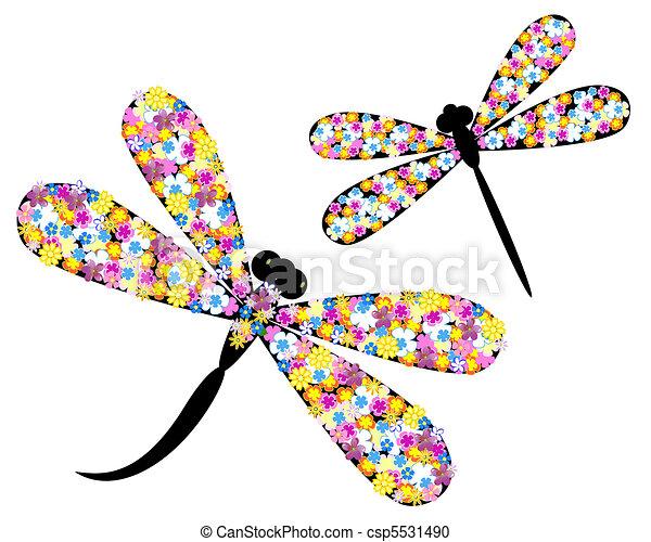 Libélula en flores - csp5531490