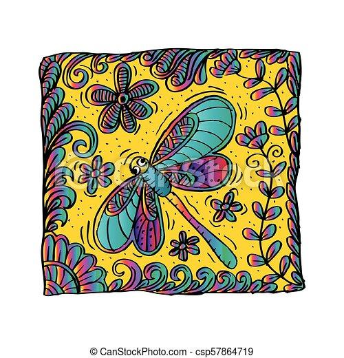 libellule, motif., oreiller - csp57864719