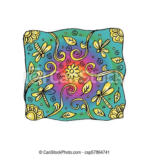 libellule, motif., oreiller - csp57864741