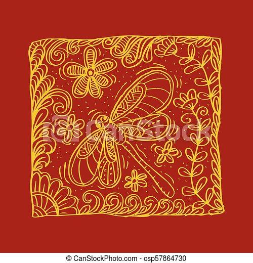 libellule, motif., oreiller - csp57864730