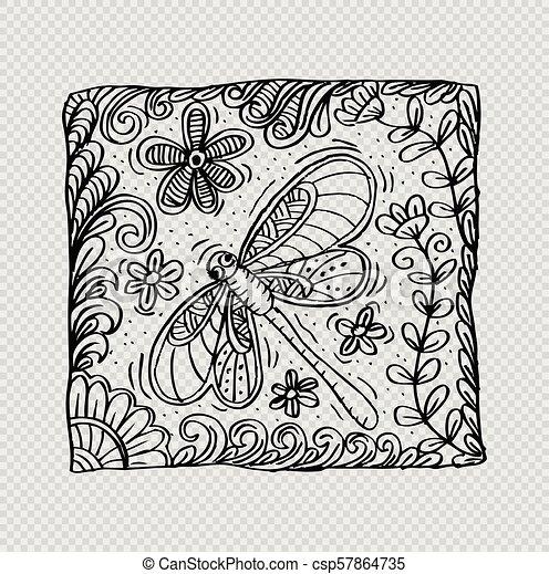 libellule, motif., oreiller - csp57864735