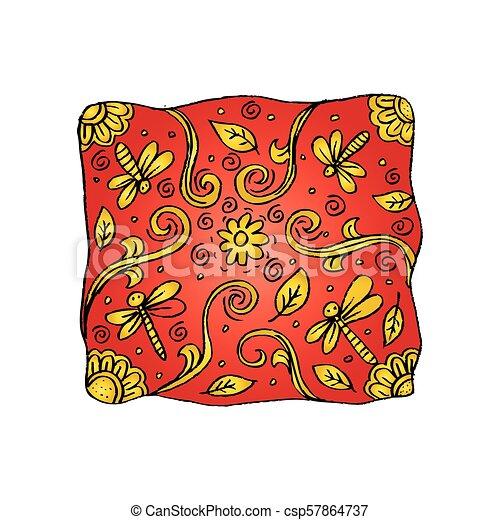 libellule, motif., oreiller - csp57864737