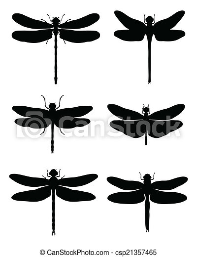 Libellules silhouettes vecteur noir clip art vectoriel - Libellule dessin ...