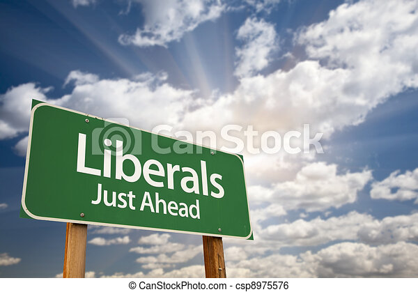 Liberals Green Road Sign and Clouds - csp8975576