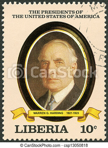 LIBERIA - CIRCA 1982: A stamp printed in Liberia shows President Warren G. Harding (1921-1923), series the Presidents of the USA, circa 1982 - csp13050818