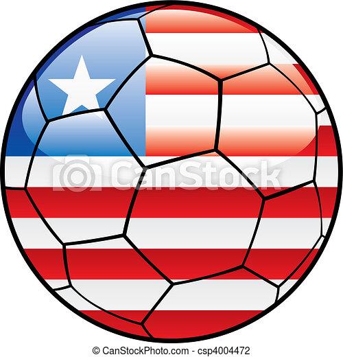 Liberia flag on soccer ball - csp4004472