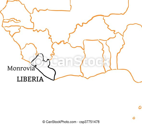 Liberia Hand Drawn Sketch Map Liberia Country With Its Capital