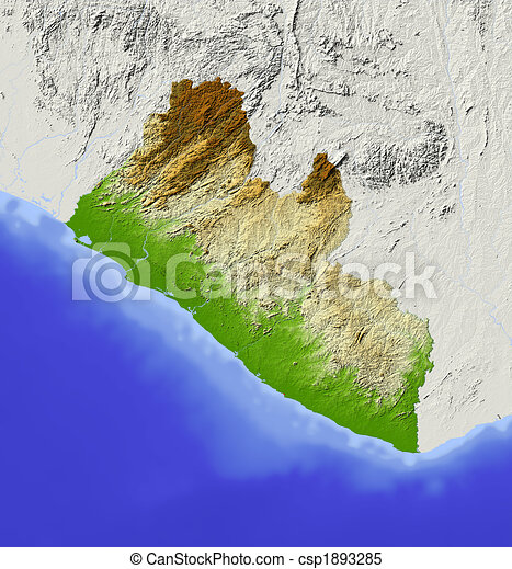 Liberia, shaded relief map. Liberia. shaded relief map. surrounding ...
